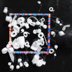Foam spirals on frame by Linda Bell