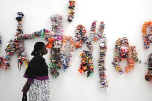 Threaded sculptures on the wall by Mary Ogunleye