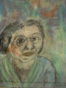 Woman's profile in pastel background by John Cull