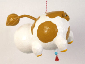 Papier Mache White and Brown Cow by Jason Pape