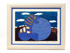 Folk-Art Blue Dragon Print by Jason Pape