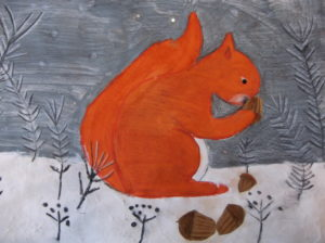 Christmas Squirrel in the Snow by Cathy Mills