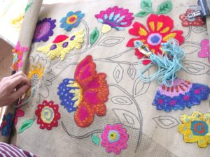 work in progress on Flower Tapestry by Butterfly