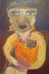 The dark lady with earrings by Fatma Durmush