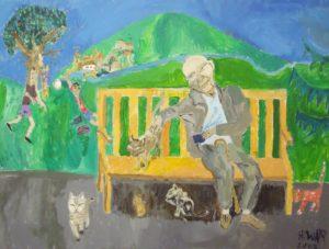 Balthus on a Bench by Howard Luke