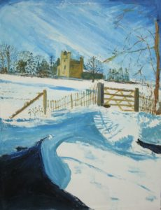 Winter at Belsay Hall by Jean Drury