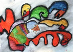 Puffin & Flamingos by albert c