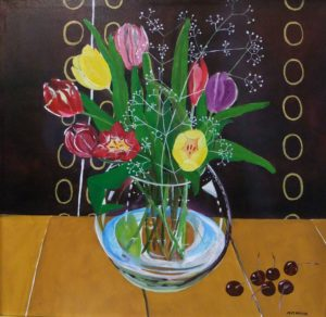 Tulips in glass vase by martyn heslop