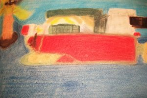 Red Container Ship by Sam While