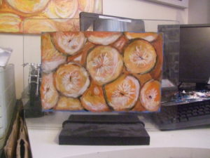 oranges painted on glass by shjbudd