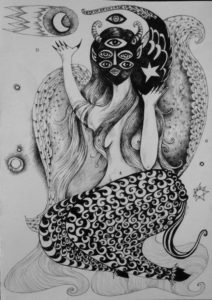 Many-eyed 3-winged faun-female by Trudy Creen