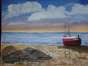 Lone boat moored in estuary by Heather Ramshaw
