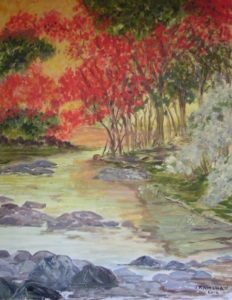 River scene in autumn colours by Heather Ramshaw