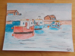 Boats in harbour by sophie mayes
