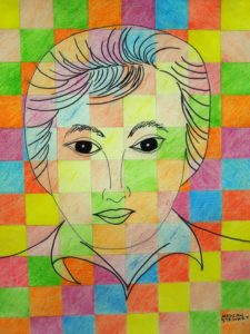 Portrait with squares by Nadean Stewart