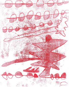 Red Monoprint by Rabbit and Bird Two