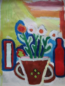 Flowers in Brown Cup by Jenny Lewis
