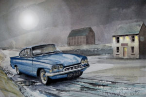 The Moon and a Ford Consul Capri by John Lowerson