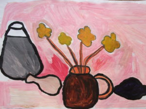 Four Yellow Flowers in Pot on Pink Background by Jenny Lewis
