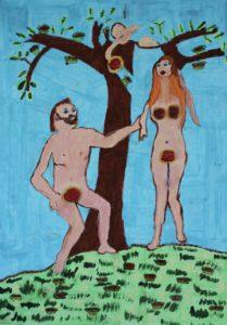 Adam and Eve eating jam tarts by Mathew Hawkesworth