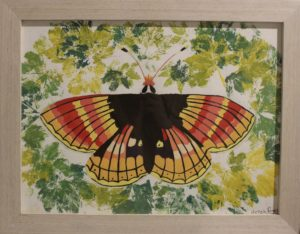 Butterfly with leaf prints by Hannah Rogers