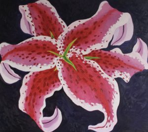 Oriental Lily by Golden Sunflower