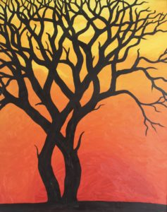 "Tree Silhouette by Forest Inferno… ""The breakdown of our climate has begun. There will be more wildfires, unpredictable super storms, increasing famine and untold drought as food supplies and fresh water disappear."" https://rebellion.earth/declaration/"