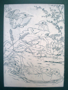 Kingfishers and Ducks in Green by Moira Taylor