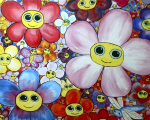 Dweebling Flowers (After Murakami) by Christopher Hoggins