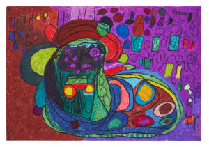 Untitled (Black Face with Purple Spots) by Ian Partridge