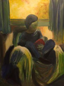 Lady cradling baby by Bryan Aldridge