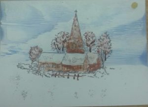 Church in the snow by Wax in Vision Art
