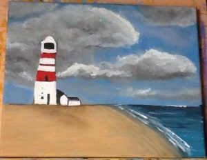Lighthouse on the Beach by Kara Jane Spencer