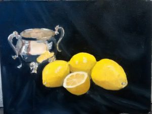 Silver cup with lemons by john Budden