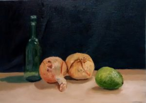 Bottle with onions and a lime. by john Budden