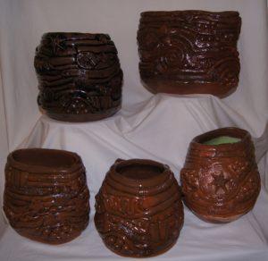 A selection of coil pots by Pamela