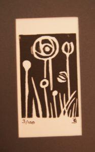 Miniature lino print by Pamela