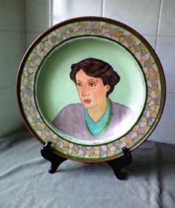 Virginia Woolf Portrait On A Round Wooden Platter. by SeaSideSean