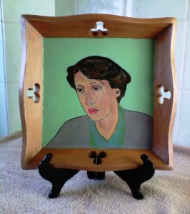 Virginia Woolf Portrait On a Small Wooden Tray. by SeaSideSean
