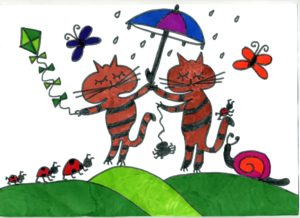 Kitties in the rain by Katie  Lord