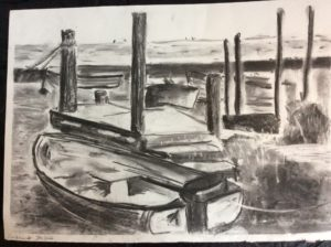 Moored boats by Caroline