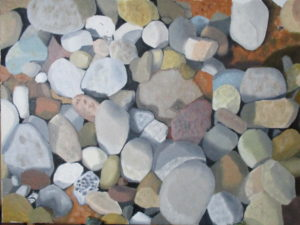 Stones on a shore by Rose sketch