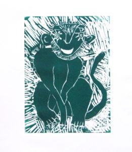 Green Monkey Sitting by Rachel Summers