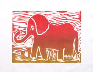Elephant in the Sunset by Rachel Summers