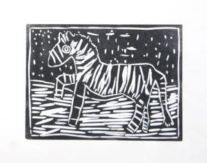 Zebra in the Snow Storm by Rachel Summers