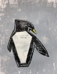 Penguin in snow storm by Jacqui