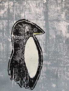 Penguin in snow storm by Louise