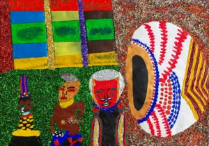African Gods in Their Village with Spirit Calabash by Glitter Landscape and Trees