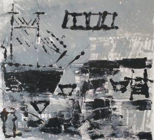 Harbour Monoprint by Mark Nottingham