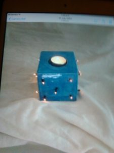 Tea light holder with lights by Gary Raven